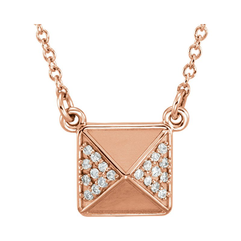 Gallery Designs Diamond Accent Pyramid Necklace 14KR