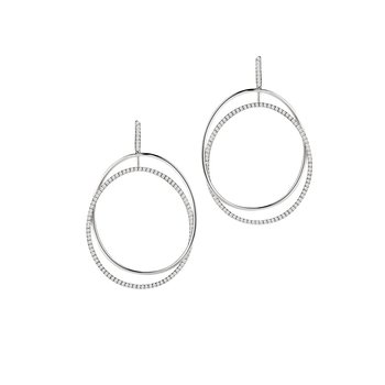 Open Oval Dangle Earrings 18KW