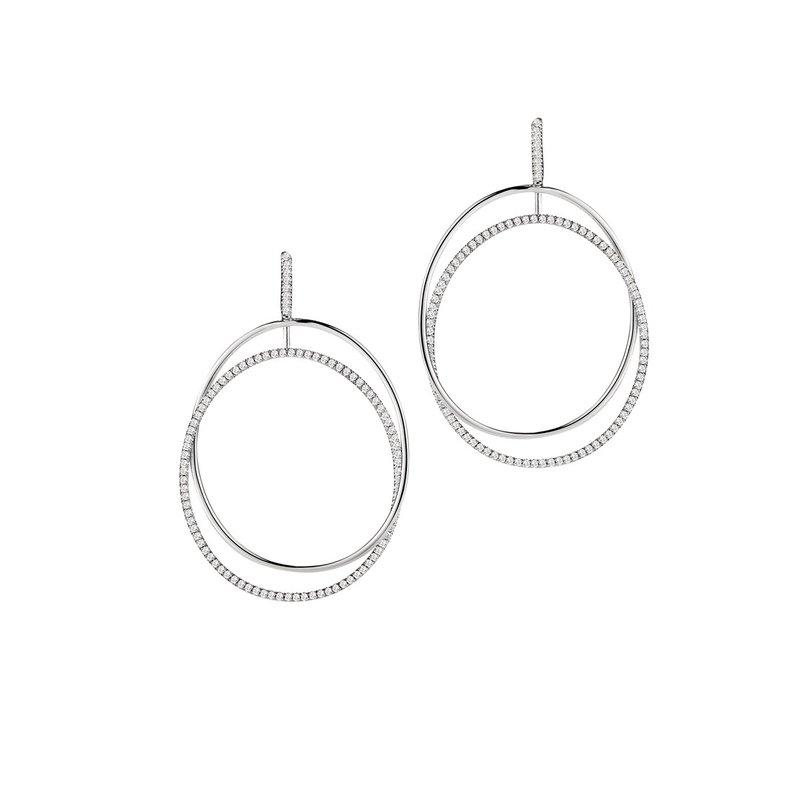 Isadora Open Oval Dangle Earrings 18KW