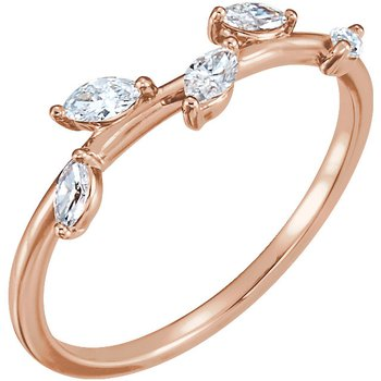 14k Rose Diamond Leaf Ring