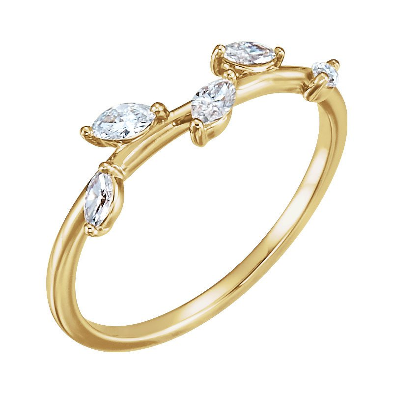 Gallery Designs 14k Rose Diamond Leaf Ring