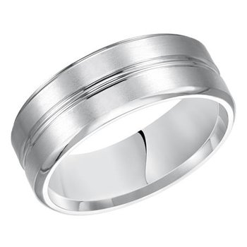 14KW White Gold Brushed/Polished Comfort Fit Engraved Wedding Band