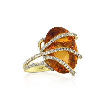 Chrysantha Citrine & Diamond Ring