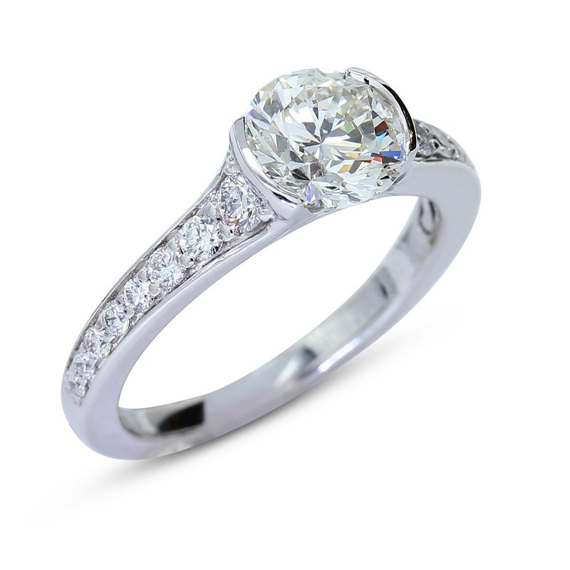 London Gold Designs Bezel Set Diamond Engagement Ring 14KW
