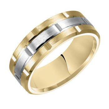 14K Two-Tone Yellow/White Gold Engraved Wedding Band