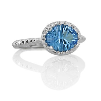 Blue Topaz Ring 14KW