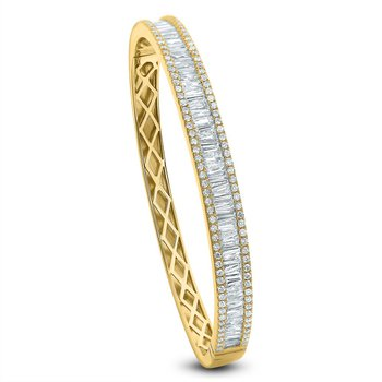 Round & Baguette Diamond Bangle 18KY