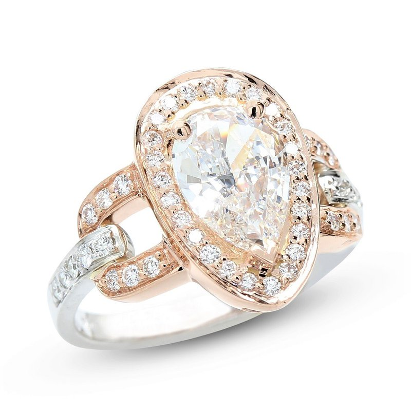 Lunaria Pear Shape Engagement Ring 14K - Custom Order