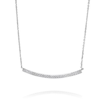 Curved Diamond Bar Necklace 18KW
