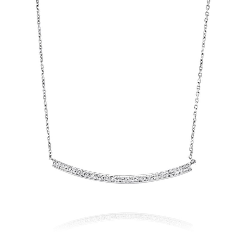 Yael Designs Curved Diamond Bar Necklace 18KW