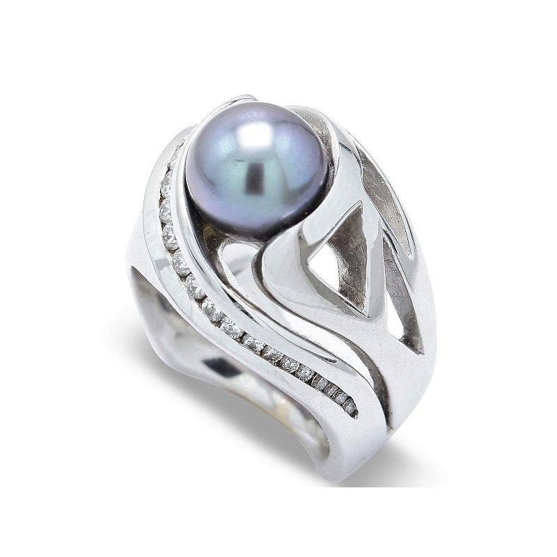 Estate Jewelry Tahitian Pearl & Diamond Ring