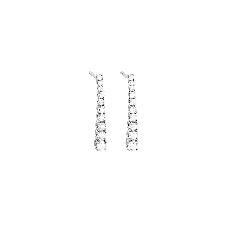 Facet Barcelona Diamond Line Drop Earrings 18KW