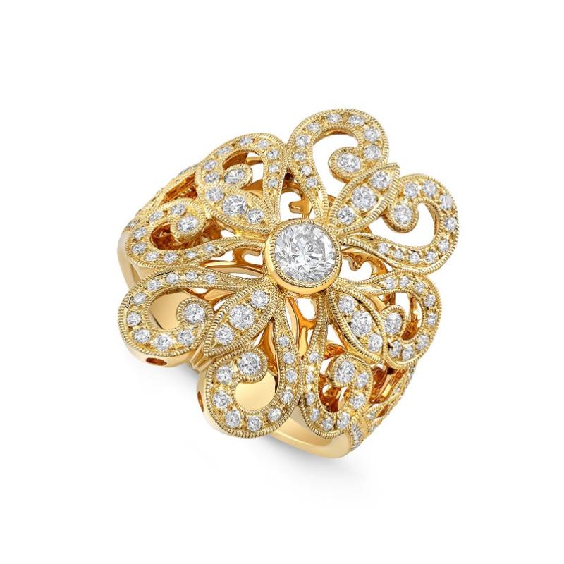 Beverley K Floral Motif Ring 18KY