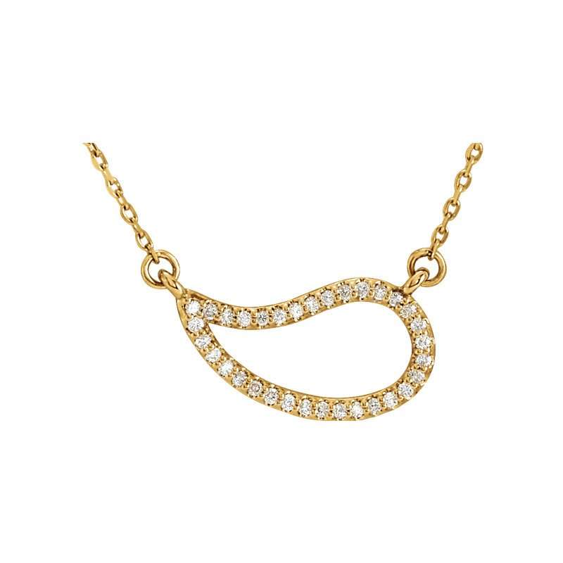 Gallery Designs Paisley Diamond Necklace 14KY