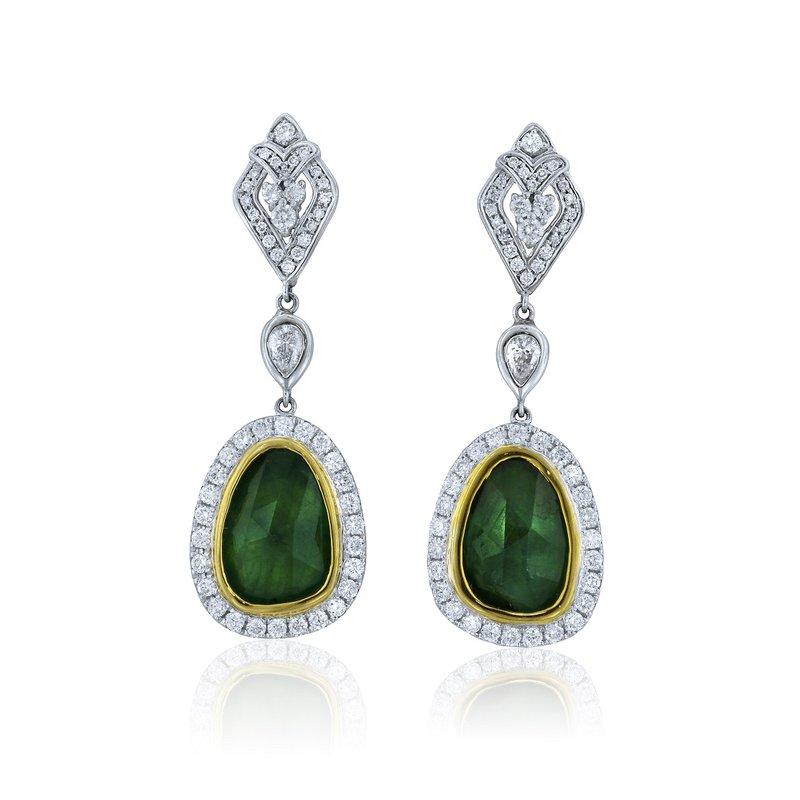 Yael Designs Emerald & Diamond Halo Dangles