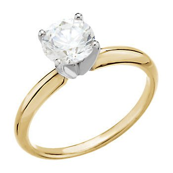 14K Yellow 4-Prong Solitaire Setting Only