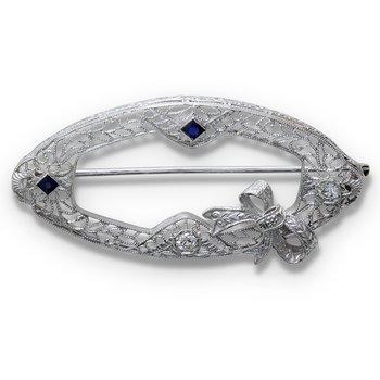 Diamond & Sapphire Brooch 14KW