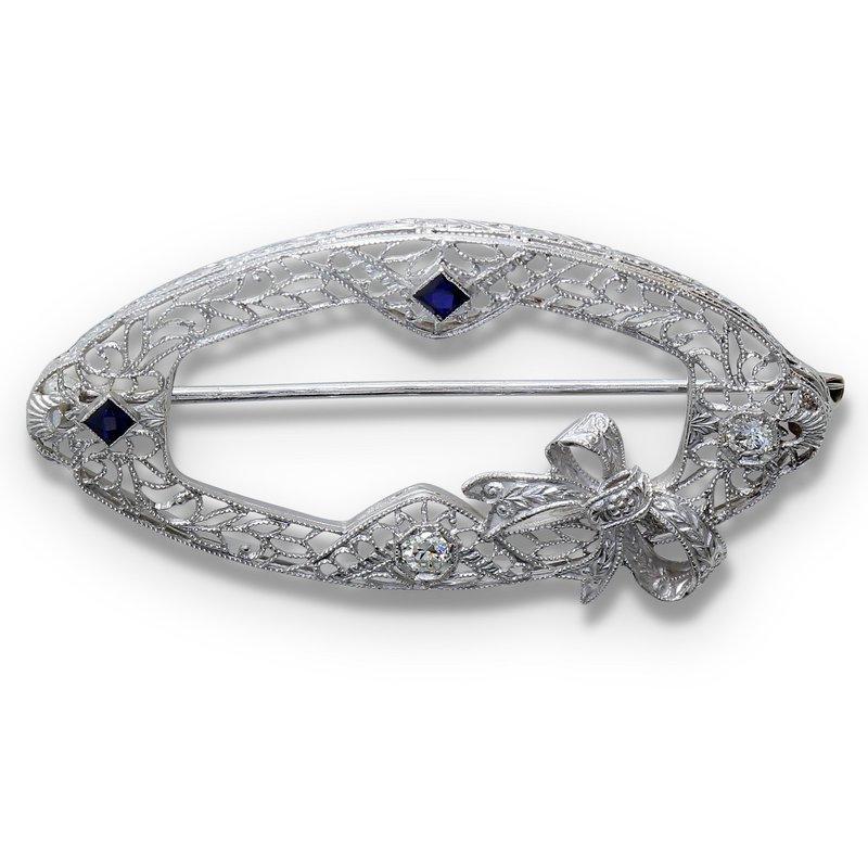 Estate Jewelry Diamond & Sapphire Brooch 14KW