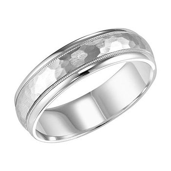 14K White Gold Hammered Finish Wedding Band