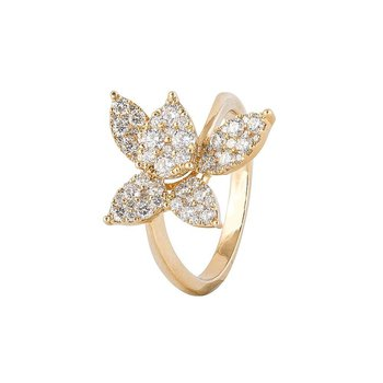Pave Diamond Flower Ring
