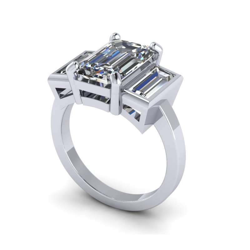 Lunaria Three Stone Emerald Cut Ring