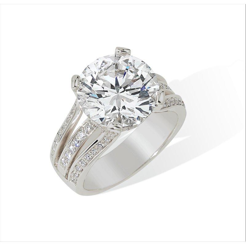 London Gold Designs 4.43ct Round Diamond Engagement Ring 18KW