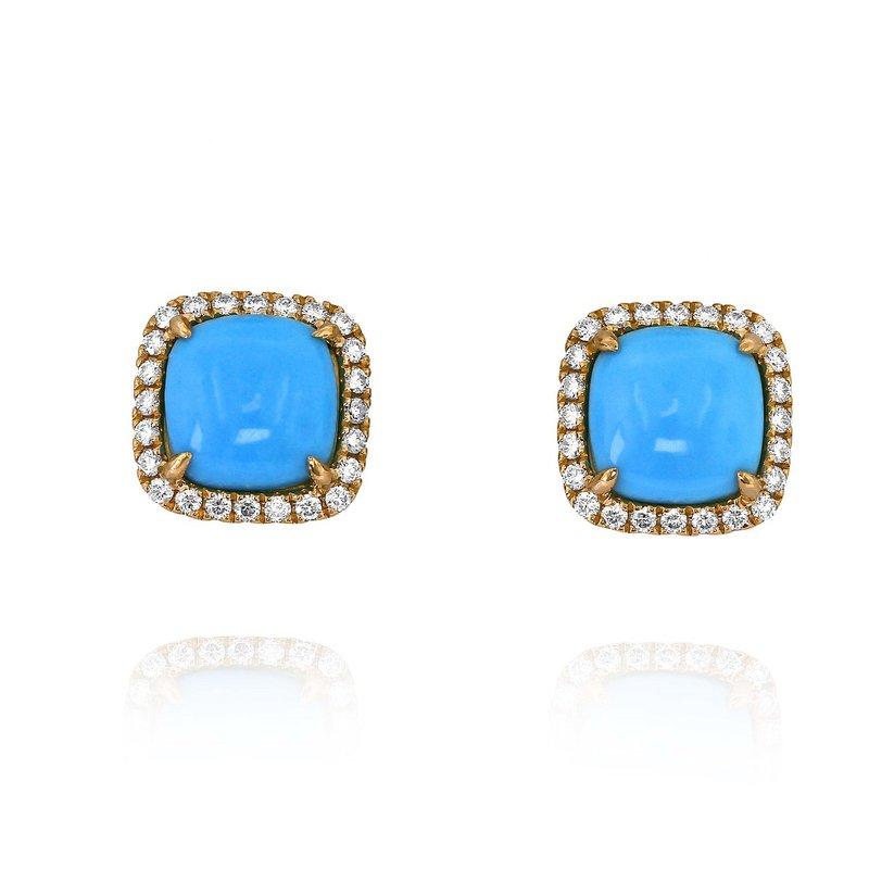 Yael Designs Turquoise Halo Earrings 18KR
