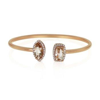 Morganite & Diamond Bangle 18KR