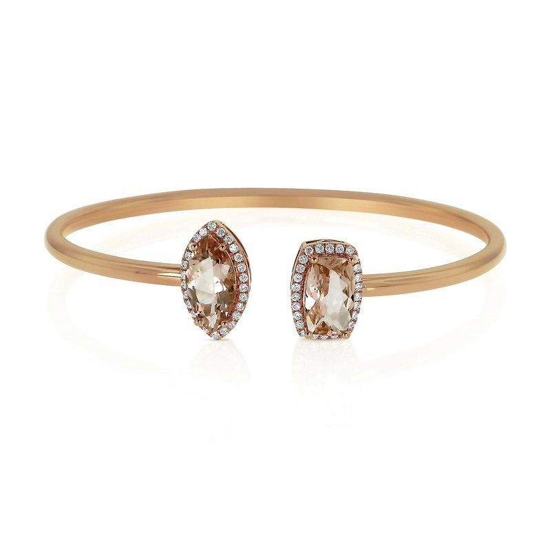 Yael Designs Morganite & Diamond Bangle 18KR