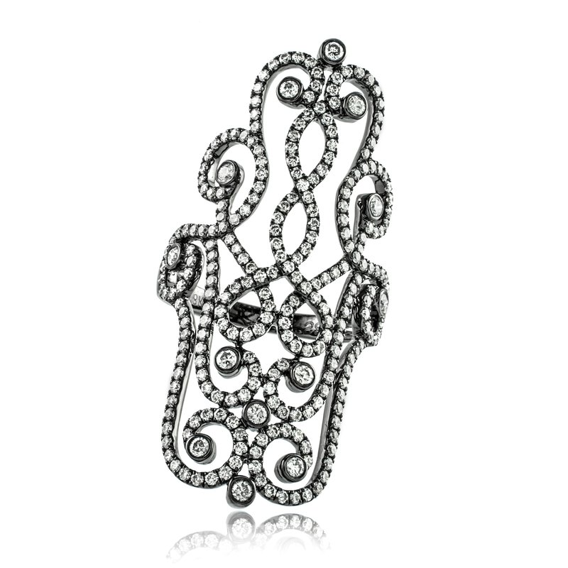 Sophia by Design Blackened Diamond Filigree Ring