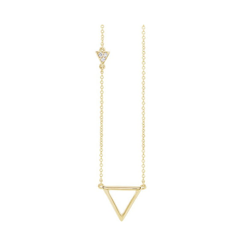 Gallery Designs Triangle Diamond Necklace 14KY