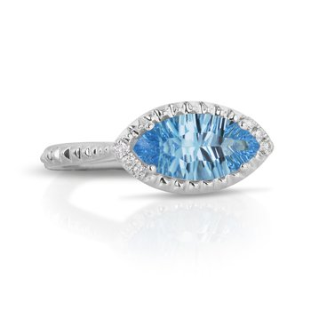 Marquise Blue Topaz Ring 14KW