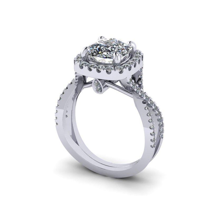 Lunaria Halo Diamond Engagement Ring
