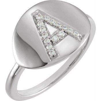 Initial Diamond Ring 14KW