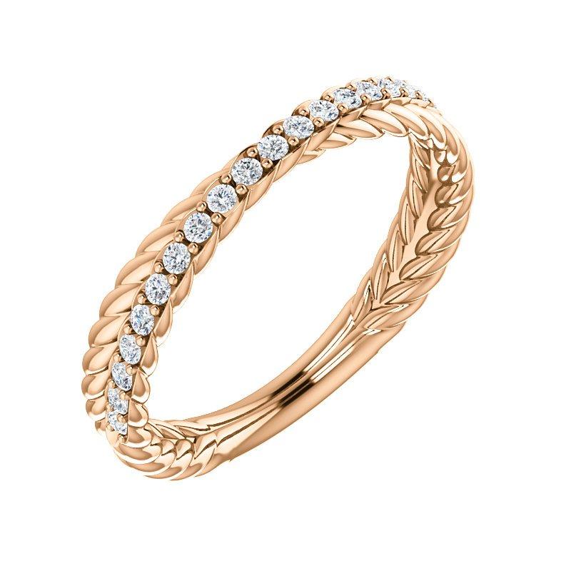 Gallery Designs 14k White Woven Diamond Band