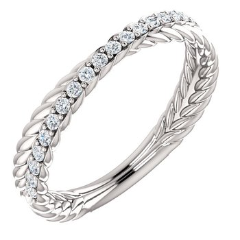 14k White Woven Diamond Band