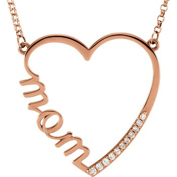 Mom Diamond Heart Pendant 14KR