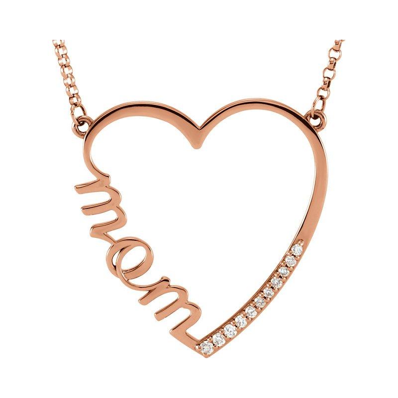 Gallery Designs Mom Diamond Heart Pendant 14KR