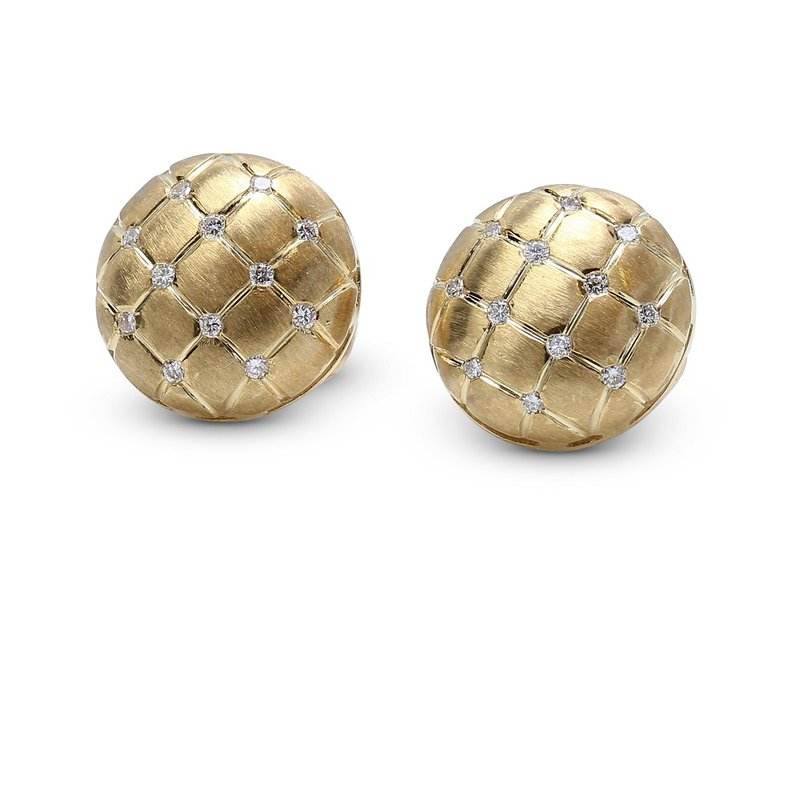 Estate Jewelry Quilted Diamond Button Earrings 14KY