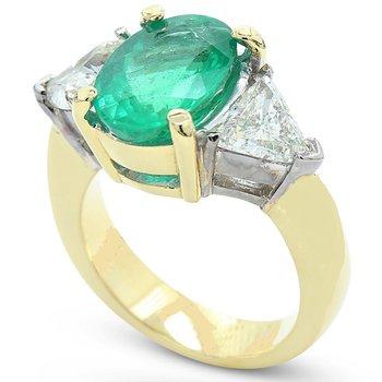 Emerald & Diamond Three Stone Ring