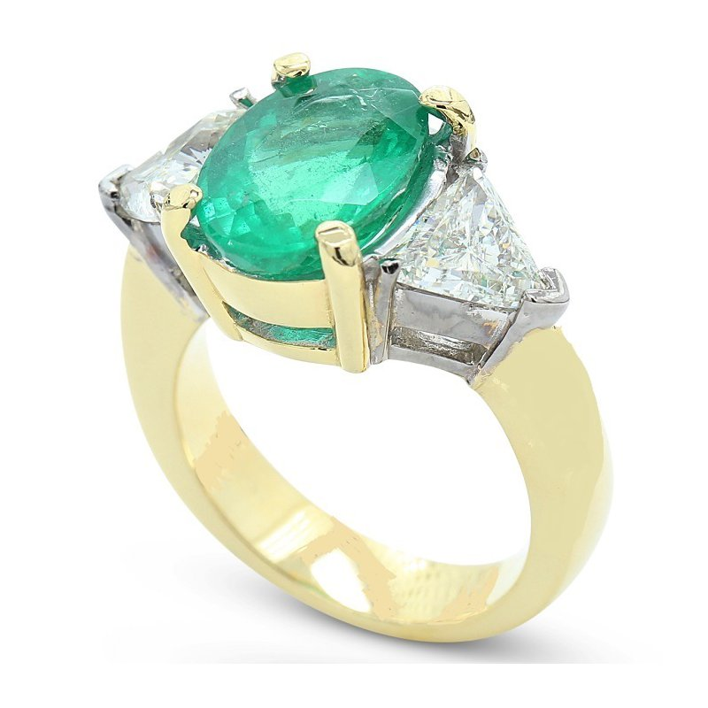 Estate Jewelry Emerald & Diamond Three Stone Ring