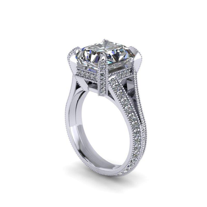 Lunaria Modern Vintage Engagement Ring - Custom Order
