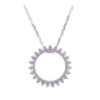 Diamond Circle Pendant 14KW
