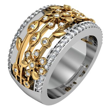 Open Floral Diamond Ring