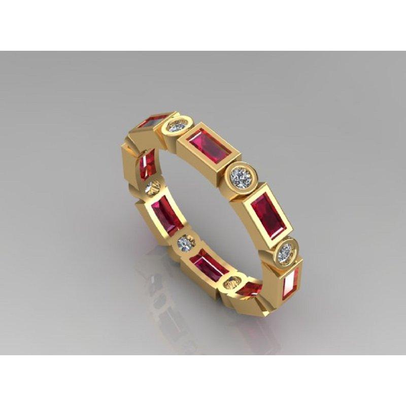 Daniels Designs Stackable Diamond & Baguette Ruby Ring