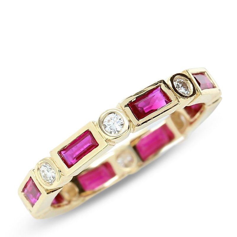 Daniels Designs Stackable Diamond & Baguette Ruby Ring
