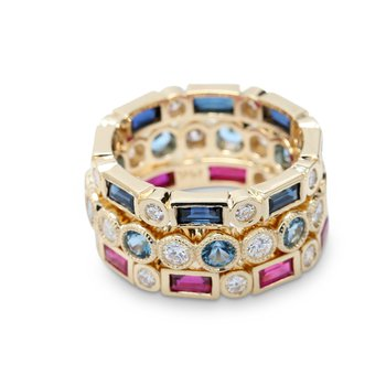 Stackable Diamond & Baguette Ruby Ring