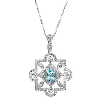 Aquamarine & Diamond Pendant 18KW