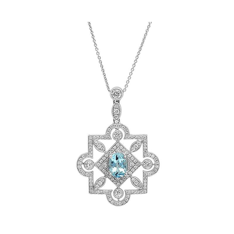 Beverley K Aquamarine & Diamond Pendant 18KW