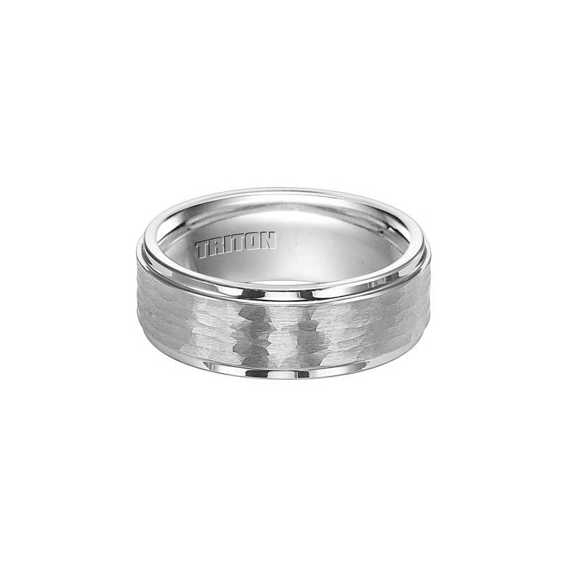 Frederick Goldman Triton White Tungsten Engraved Wedding Band